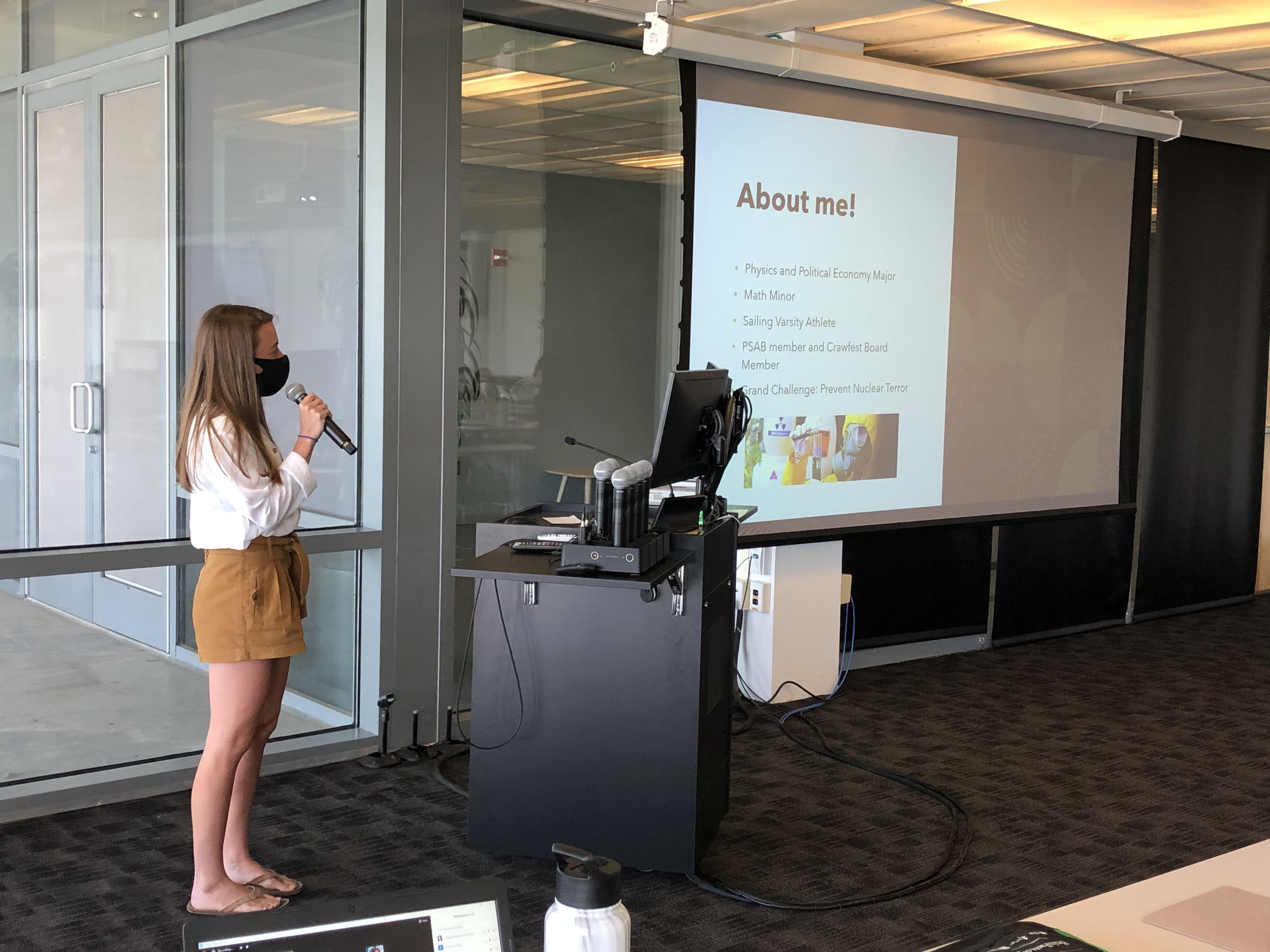 Katie Cartiglia presenting